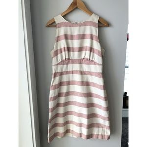 J Crew Pink & White Stripped A Line Dress size 6
